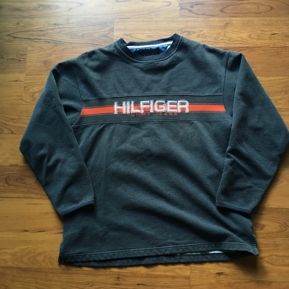 30facb09 Tommy Hilfiger Shirts | Gray And Orange Sweatshirt | Poshmark